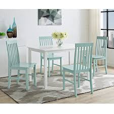 Blue And White Dining Chairs by Amazon Com New 5 Piece Chic Dining Set Table And 4 Chairs White