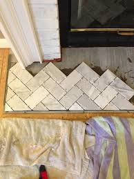 Installing Marble Tile Chic Meets Healthy Fireplace Hearth Pt 1 Herringbone Marble