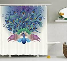 Curtains Birds Theme Ambesonne Peacock Decor Collection Illustration Of Ornate Peacock
