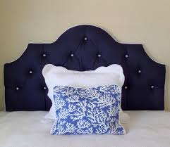 queen size navy white crystal buttons tufted upholstered headboard