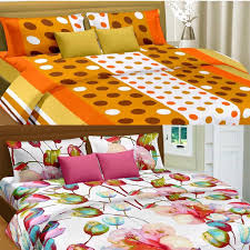 home cortina india cortina premium double set of 2 bed sheet multicolor