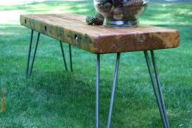reclaimed historical wood bench coffee table with salvaged old