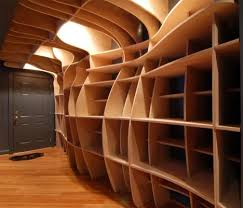 curved wood wall laser cutting edge custom built in wood wall shelves