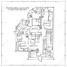 architectural hand drawn floor plan two bedrooms apartment royalty