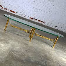hollywood regency mid century gilt iron base coffee table with