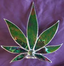 marijuana leaf christmas tree topper free standing stained