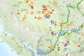 Wildfire Country Club Canada by Interactive Map Paints B C Wildfire Picture Lake Country Calendar
