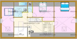 plan de maison en l avec 4 chambres plan de maison gratuit 4 chambres maison bois b13119t toit plat r1