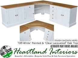large painted corner workstation desk with solid oak tops