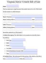 free virginia dmv bill of sale form pdf word doc