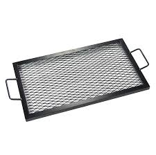 Firepit Grille by Sunnydaze X Marks Rectangle Fire Pit Cooking Grill Steel Black