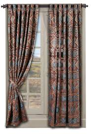 etnich curtain pattern for white lacquer wooden frame glass window