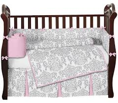 Unisex Baby Crib Bedding by Pink Gray And White Elizabeth Baby Bedding 9 Piece Crib Set