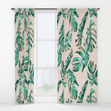 Seafoam Green Window Curtains by Pattern And Salmon Window Curtains Society6