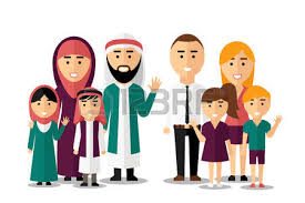 asian family walking together and holding flat style vector