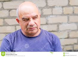 contempy old man looking for someone with contempt stock photo image