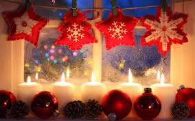 new year ornaments candles cones window decorations
