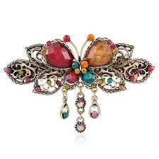 barrettes hair 1 pcs women retro vintage diamond butterfly flower