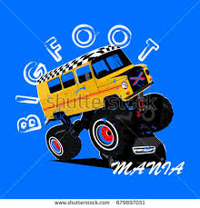 racing cat monster truck vector cartoon stock vector 695639713