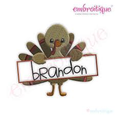 embroitique thanksgiving turkey name frame filled embroidery design