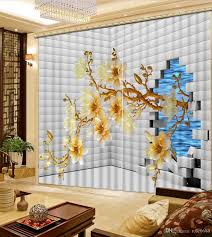 2017 curtains for living room brick magnolia flower fashion decor