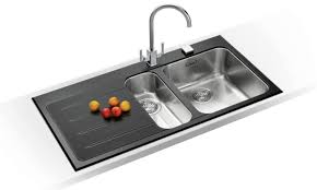 Mybathroom Black Glass Stainless Steel Kitchen Sink - Black glass kitchen sink