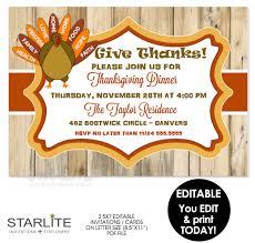 thanksgiving invitation rustic turkey editable instant