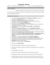 sample resume for 2 years experience in manual testing best