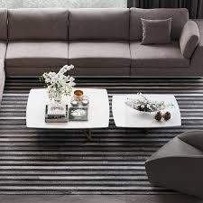 belvedere nested coffee tables white glass natural modloft