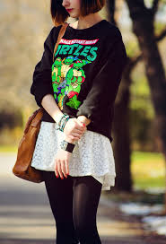 teenage mutant ninja turtles sweatshirt and lace