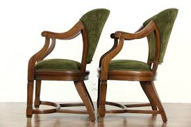 Furniture Upholstery Chicago Pair Of Antique Walnut Library Or Office Chairs New Upholstery