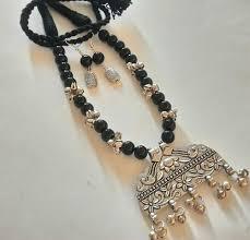 silver pendant necklace set images Sreevee beads glass bead with oxidized silver pendant necklace set jpeg