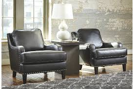 Black Leather Accent Chair Handsome Black Leather Accent Chairs With Detailed And