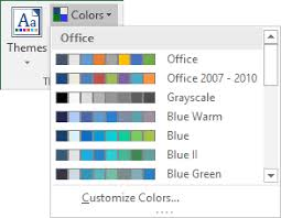 colour themes for excel how to change the default colors that excel uses for chart series