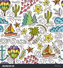Travel Theme Cartoon Handdrawn Doodles On Theme Travel Stock Vector 556895899