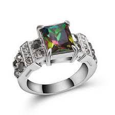 cz engagement ring rainbow topaz cz engagement ring 18k white gold filled wedding