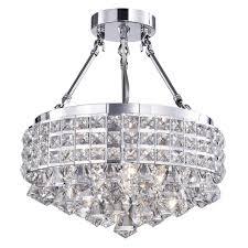 crystal semi flush mount lighting drum round shade chrome 4 light crystal semi flush mount chandelier