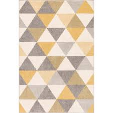 Modern Yellow Rug Well Woven Mystic Alvin Gold 3 Ft 3 In X 5 Ft Modern Geometric
