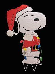 peanuts hammered metal yard snoopy santa