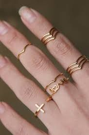 midi rings set gold stackable chevron v midi rings set of 2 yoonshop on artfire