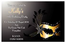 18th Birthday Invitation Card Birthday Invites Incredible Masquerade Birthday Invitations