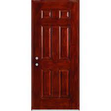 stanley doors 36 in x 80 in infinity 6 panel stained fiberglass