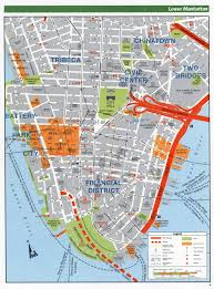 Map Of New York And Manhattan by Large Detailed Road Map Of Lower Manhattan Nyc Lower Manhattan