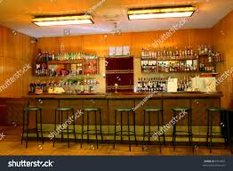 classic bar counter interior empty seats stock photo 8714407