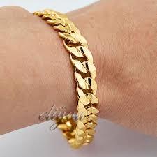 mens gold bracelet links images Best 9mm new fashion jewelry men women curb cuban link chain 18k jpg