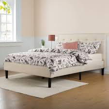 King Bed Platform Frame Priage Upholstered Button Tufted Platform Bed With Wooden Slats