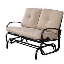 rolston wicker patio furniture outdoor patio rocking bench loveseat cushioned 2 seats steel frame