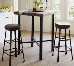 round table bar griffin reclaimed wood bar height table pottery barn