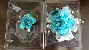 Corsage And Boutonniere Cost Wrist Corsage Turquoise Blue Wrist Corsage And Matching