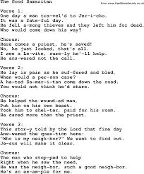 christian childrens song the samaritan lyrics